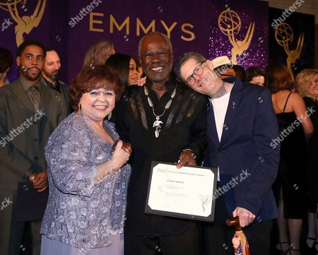 Patrika Darbo, Glynn Turman, Bob Bergen. Performer Peer Group Governors Patrika Darbo, left, and Bob Bergen, right, pose with Emmy nominee Glynn Turman, center, at the 2019 Performers Nominee Reception presented by the Television Academy at the Wallis Annenberg Center for the Performing Arts, in Beverly Hills, Calif