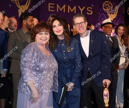 Patrika Darbo, Carice Van Houten, Bob Bergan. Performer Peer Group Governors Patrika Darbo, left, and Bob Bergen, right, pose with Emmy nominee Carice Van Houten, center, at the 2019 Performers Nominee Reception presented by the Television Academy at the Wallis Annenberg Center for the Performing Arts, in Beverly Hills, Calif