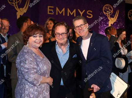 Patrika Darbo, Stephen Root, Bob Bergen. Patrika Darbo, from left, Stephen Root, and Bob Bergen attend the 2019 Performers Nominee Reception presented by the Television Academy at the Wallis Annenberg Center for the Performing Arts, in Beverly Hills, Calif
