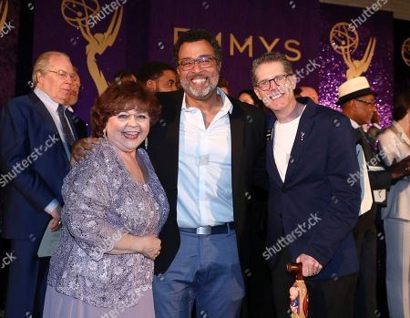 Stock Picture of Patrika Darbo, Anthony Mendez, Bob Bergen. Performer Peer Group Governors Patrika Darbo, left, and Bob Bergen, right, pose with Emmy nominee Anthony Mendez at the 2019 Performers Nominee Reception by the Television Academy at the Wallis Annenberg Center for the Performing Arts, in Beverly Hills, Calif