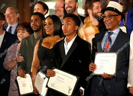 Patrika Darbo, Jharrel Jerome, Niecy Nash, Asante Blackk, Giancarlo Esposito. Performer Peer Group Governor Patrika Darbo, from left, Emmy nominee Jharrel Jerome, Emmy nominee Niecy Nash, Emmy nominee Asante Blackk, and Emmy nominee Giancarlo Esposito at the 2019 Performers Nominee Reception presented by the Television Academy at the Wallis Annenberg Center for the Performing Arts, in Beverly Hills, Calif