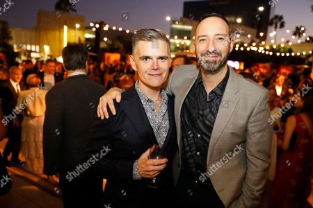 Stock Image of Michael Ausiello, Tony Hale. Michael Ausiello, left, and Tony Hale toast at the Performer's Nominee Reception with Ketel One Family Made Vodka, the Official Spirits Partner of the 71st Emmy Awards Season, on at the Wallis Annenberg Center for the Performing Arts in Beverly Hills, Calif
