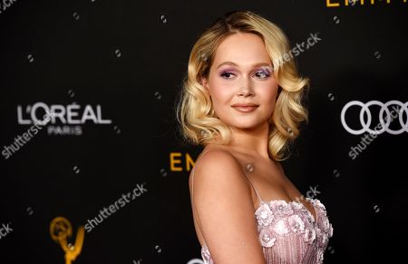 Kelli Berglund poses at the Performers Nominee Reception for Sunday's 71st Primetime Emmy Awards, in Beverly Hills, Calif