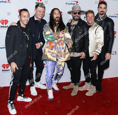 Howie Dorough, Nick Carter, Steve Aoki, AJ McLean, Brian Littrell, and Kevin Richardson of Backstreet Boys