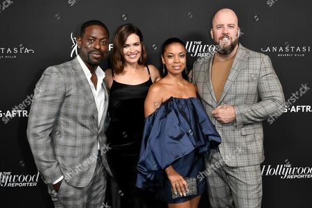 Sterling K. Brown, Mandy Moore, Susan Kelechi Watson, Chris Sullivan. Sterling K. Brown, from left, Mandy Moore, Susan Kelechi Watson and Chris Sullivan attend the 2019 Primetime Emmy Awards - THR Emmy Nominees party at Avra, in Beverly Hills, Calif