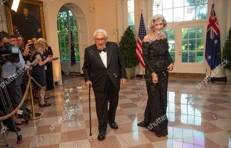 Stock Image of Former United States Secretary of State Henry Kissinger and Nancy Kissinger arrive for the State Dinner