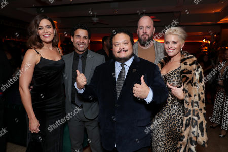 Mandy Moore, Jon Huertas, Adrian Martinez, Chris Sullivan and Rachel Reichard attend the 2019 Pre-Emmy Party hosted by Entertainment Weekly and L'Oreal Paris at Sunset Tower Hotel in Los Angeles on Friday, September 20, 2019.