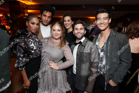 Stock Image of Kelly McCreary, guest, Jaicy Elliot, Stefania Spampinato, Jake Borelli and Alex Landi attend the 2019 Pre-Emmy Party hosted by Entertainment Weekly and L'Oreal Paris at Sunset Tower Hotel in Los Angeles on Friday, September 20, 2019.