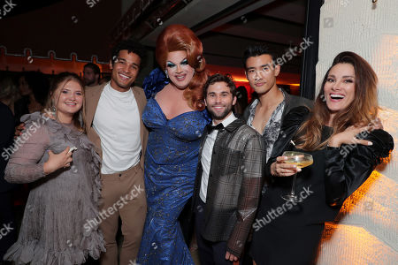 Jaicy Elliot, guest, Nina West, Jake Borelli, Alex Landi and Stefania Spampinato attend the 2019 Pre-Emmy Party hosted by Entertainment Weekly and L'Oreal Paris at Sunset Tower Hotel in Los Angeles on Friday, September 20, 2019.