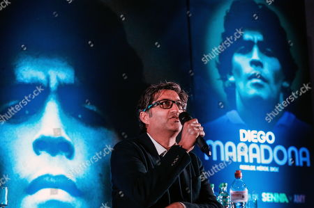 Asif Kapadia speaks during a presentation event in Buenos Aires, Argentina, 19 September 2019 (issued 21 September 2019). Kapadia presented his new work, a movie documentary about the Argentinian former soccer player Diego Armando Maradona.
