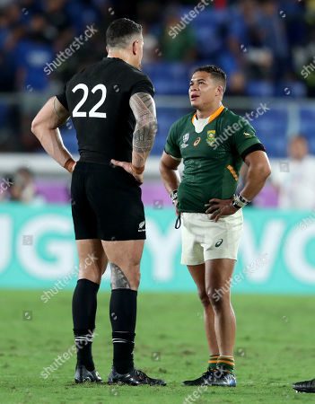 New Zealand vs South Africa. New Zealand's Sonny Bill Williams with South Africa's Cheslin Kolbe after the game