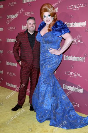 Ross Mathews (l) and Nina West arrive for the 2019 Pre-Emmy Party hosted by Entertainment Weekly and L'Oreal Paris at the Sunset Tower Hotel in West Hollywood, California, USA, late 20 September 2019.