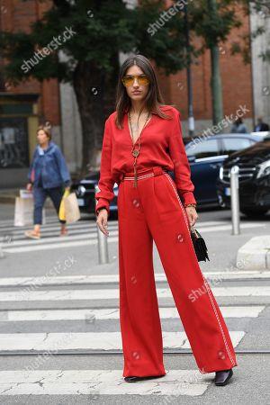 Editorial photo of Street Style, Spring Summer 2020, Milan Fashion Week, Italy - 19 Sep 2019