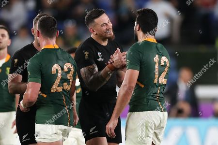 New Zealand vs South Africa. Sonny Bill Williams of New Zealand shakes hands with Damian De Allende of South Africa