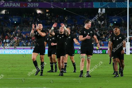 Stock Image of New Zealand vs South Africa. New Zealand's Sonny Bill Williams and TJ Perenara celebrate after the match