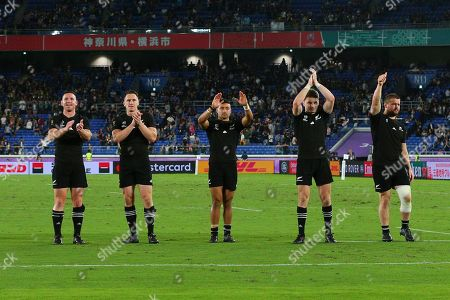 New Zealand vs South Africa. New Zealand's Ryan Crotty, Ben Smith, Richie Mo'unga with Bauden Barrett and Dane Coles celebrate after the match