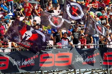 Fans of Spanish MotoGP rider Jorge Lorenzo cheer during the qualifying session at Motorland circuit in Alcaniz, Spain, 21 September 2019. The Motorcycling Grand Prix of Aragon will be held on 22 September 2019.