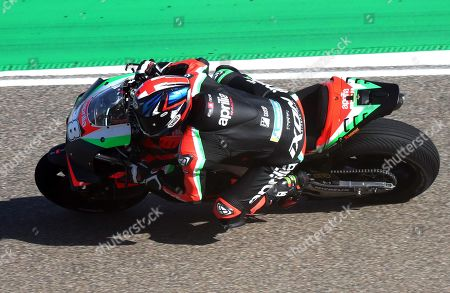 Stock Image of British MotoGP rider Bradley Smith of Aprilia Racing Team in action during the free  training session of the Motorcycling Grand Prix of Aragon at the MotorLand Aragon circuit in Alcaniz, northeastern Spain, 20 September 2019.
