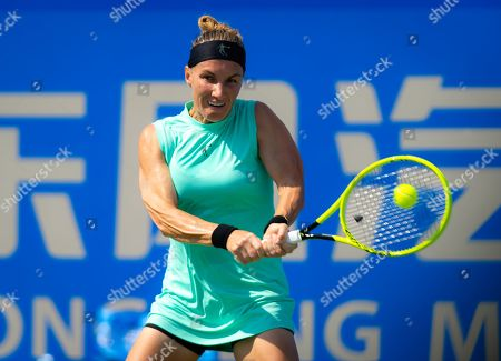 Svetlana Kuznetsova of Russia in action during qualifications at the 2019 Dongfeng Motor Wuhan Open Premier 5 tennis tournament