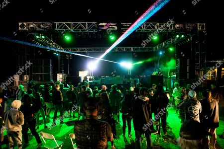English record producer and DJ Paul Oakenfold performs at the Alien Research Center during a party and gathering organized in Hiko, Nevada, USA, 20 September 2019 (issued 21 September 2019). Starting as a joke, the 'Storm Area 51' event transformed into a gathering for alien believers, with music and attractions held in several places around Area 51.