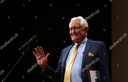 George Lazenby speaks after he received the Lifetime Achievement Award of the 16th CineFest Miskolc International Film Festival in Miskolc, Hungary, 21 September 2019. The festival runs from 13 to 21 September.