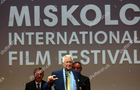 George Lazenby (C) speaks after he received the Lifetime Achievement Award of the 16th CineFest Miskolc International Film Festival in Miskolc, Hungary, 21 September 2019. The festival runs from 13 to 21 September.