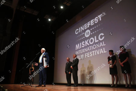 George Lazenby (L) speaks after he received the Lifetime Achievement Award of the 16th CineFest Miskolc International Film Festival, in Miskolc, Hungary, 21 September 2019. The festival runs from 13 to 21 September.