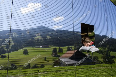 Stefanie visits the installation 'Mirage Gstaad' by American artist Doug Aitken, in Gstaad, Switzerland, 21 September 2019. The structure is presented during the exhibition 'Elevation 1049: Frequencies' that will be visible until spring 2021.