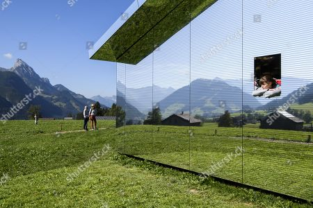 Stock Image of Stefanie visits the installation 'Mirage Gstaad' by American artist Doug Aitken, in Gstaad, Switzerland, 21 September 2019. The structure is presented during the exhibition 'Elevation 1049: Frequencies' that will be visible until spring 2021.