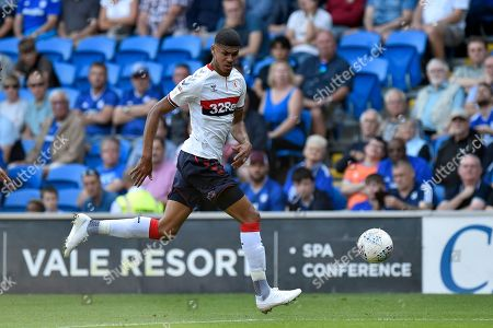 Ashley Fletcher (11) of Middlesbrough on the attack during the EFL Sky Bet Championship match between Cardiff City and Middlesbrough at the Cardiff City Stadium, Cardiff