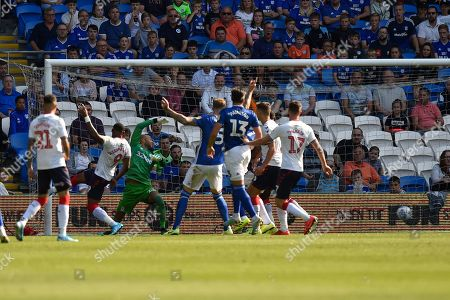 Goal - Ashley Fletcher (11) of Middlesbrough scores an own goal to give Cardiff a 1-0 lead during the EFL Sky Bet Championship match between Cardiff City and Middlesbrough at the Cardiff City Stadium, Cardiff