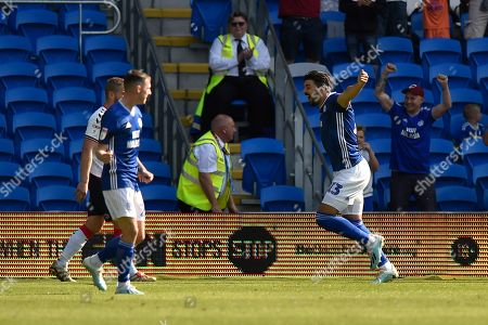 Goal - Callum Paterson (13) of Cardiff City celebrates the Ashley Fletcher (11) of Middlesbrough own goal to give Cardiff a 1-0 lead during the EFL Sky Bet Championship match between Cardiff City and Middlesbrough at the Cardiff City Stadium, Cardiff