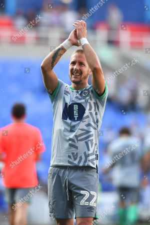 Blackburn Rovers midfielder Lewis Holtby (22) celebrates at the final whistle during the EFL Sky Bet Championship match between Reading and Blackburn Rovers at the Madejski Stadium, Reading