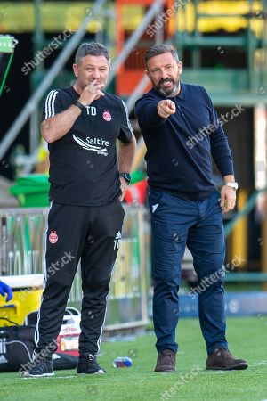 Aberdeen manager Derek McInnes discusses tactics with assistant manager Tony Docherty during the Ladbrokes Scottish Premiership match between Livingston FC and Aberdeen FC at The Tony Macaroni Arena, Livingston