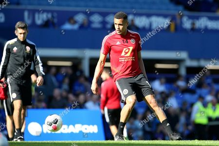 Sheffield United midfielder Ravel Morrison (14) warming up during the Premier League match between Everton and Sheffield United at Goodison Park, Liverpool