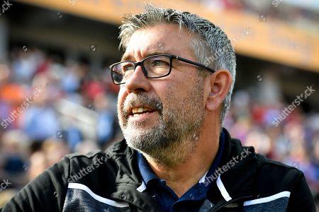 Stock Image of Union's head coach Urs Fischer reacts prior to the German Bundesliga soccer match between Bayer Leverkusen and 1. FC Union Berlin in Leverkusen, Germany, 21 September 2019.
