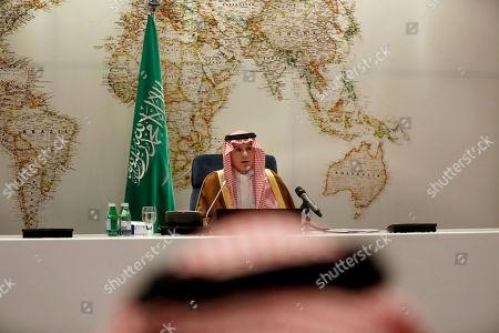 Saudi Arabia's Foreign Minister Adel Al-Jubeir, talks during a news conference in Riyadh, Saudi Arabia