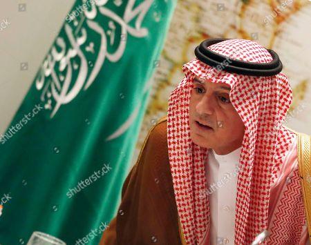 Saudi Arabia's Foreign Minister Adel Al-Jubeir, leaves a press conference in Riyadh, Saudi Arabia