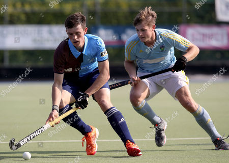 Three Rock Rovers vs UCD. Three Rock's Ben Walker and Mark Samuel of UCD