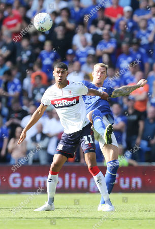 Stock Picture of Aden Flint of Cardiff City and Ashley Fletcher of Middlesbrough compete for the ball