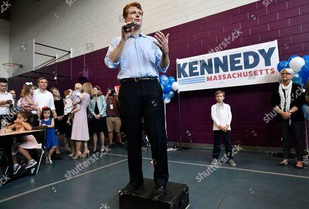 Democratic U.S. Rep. Joseph Kennedy III, D-Mass., announces his candidacy for the Senate, in Boston. Kennedy will challenge incumbent Sen. Ed Markey in the Democratic primary