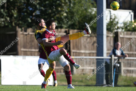 Matt Johnson of Hornchurch battles for the ball with Josh Hutchinson of Potters Bar Town during Potters Bar Town vs Hornchurch, Emirates FA Cup Football at The Pakex Stadium on 21st September 2019