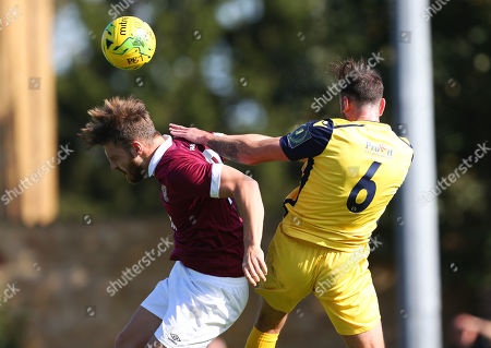 Bradley Sach of Potters Bar Town goes up for a header with Matt Johnson of Hornchurch during Potters Bar Town vs Hornchurch, Emirates FA Cup Football at The Pakex Stadium on 21st September 2019