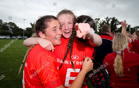 Ulster Women U18 vs Munster Women U18. Munster's Emma Connolly celebrates with Aoife Costello and Allaiah TePau after the game