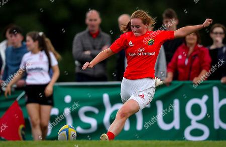 Stock Picture of Ulster Women U18 vs Munster Women U18. Munster's Emma Connolly kicks a conversion