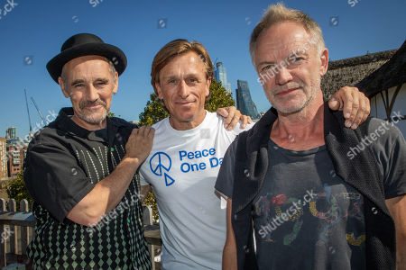 Mark Rylance, Peace One Day founder Jeremy Gilley and Sting