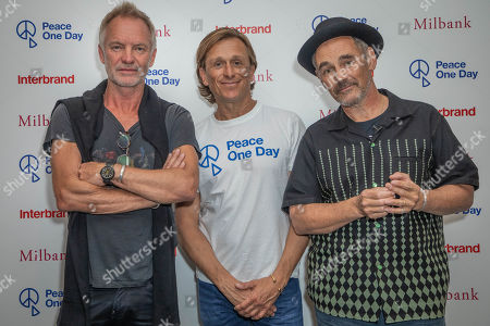 Sting, Peace One Day founder Jeremy Gilley and Mark Rylance