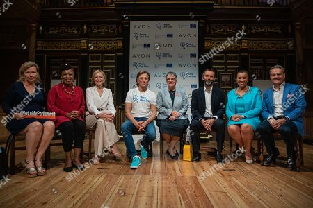 Stock Image of Marja Ruotanen, Dr Shola Mos-Shogbamimu, Peace One Day ambassador Juliet Rylance, Peace One Day founder Jeremy Gilley, Liliane Maury Pasquier, Will Gardner OBE, Rt Hon Baroness Patricia Scotland QC and Jan Zijderveld