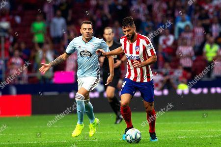 Atletico Madrid's defender Felipe (R) in action against Celta's forward Iago Aspas (L) during the Spanish La Liga soccer match between Atletico Madrid and Celta Vigo in Madrid, Spain, 21 September 2019.