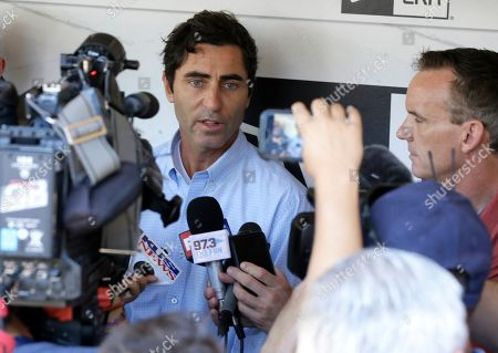 San Diego Padres general manager A.J. Preller talks at a news conference about firing manager Andy Green in San Diego, . General manager A.J. Preller said Green, in his fourth season, was fired because the team had regressed in the second half